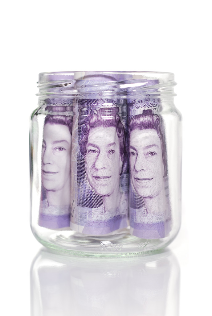 3 £20 notes in a jar
