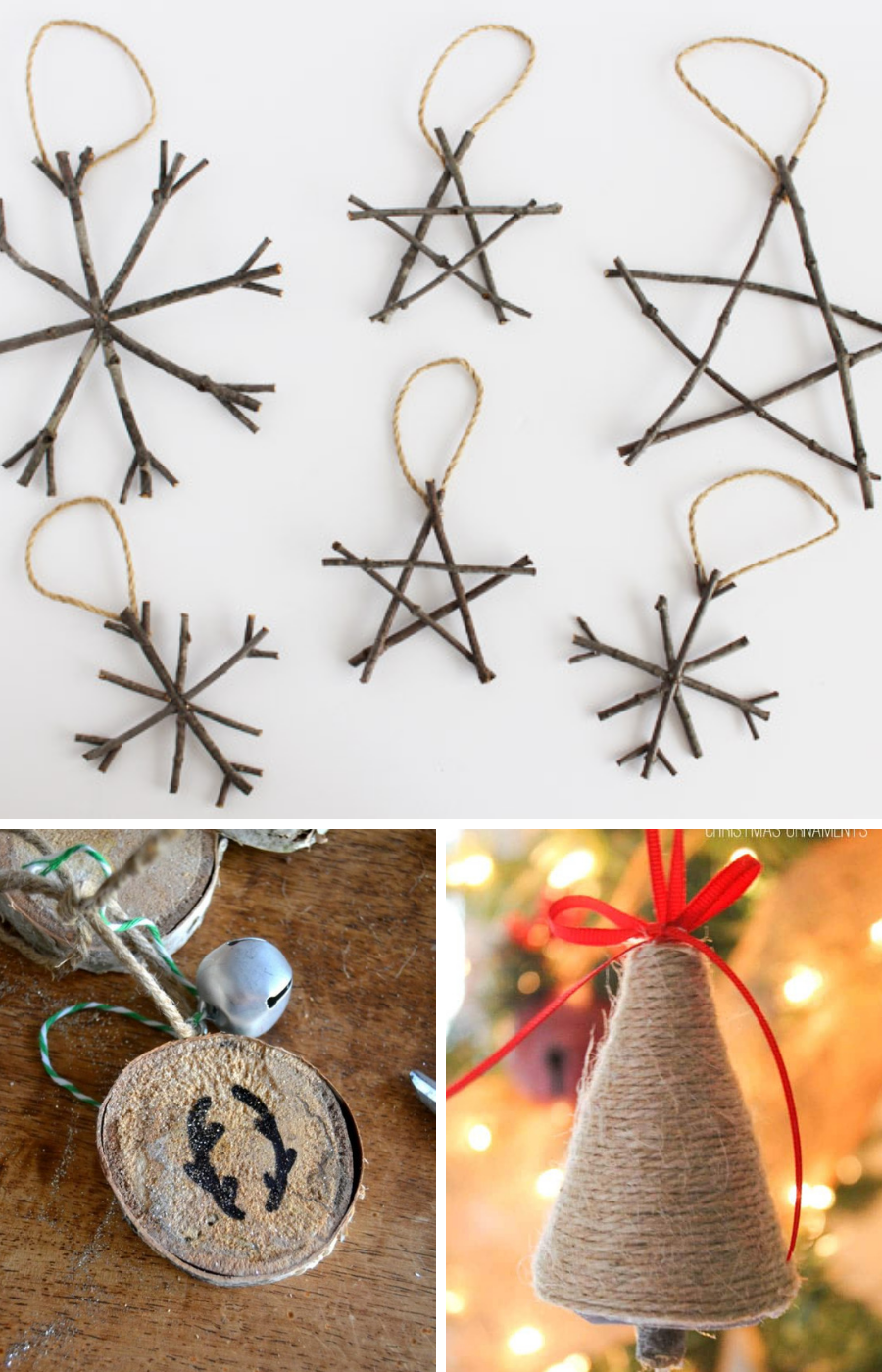 rustic DIY christmas ornaments, DIY christmas ornaments, thrifty christmas